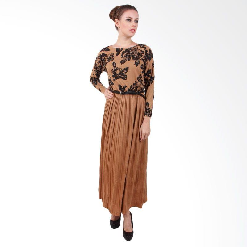 The B Club Maxi Dress Brown Flower Black