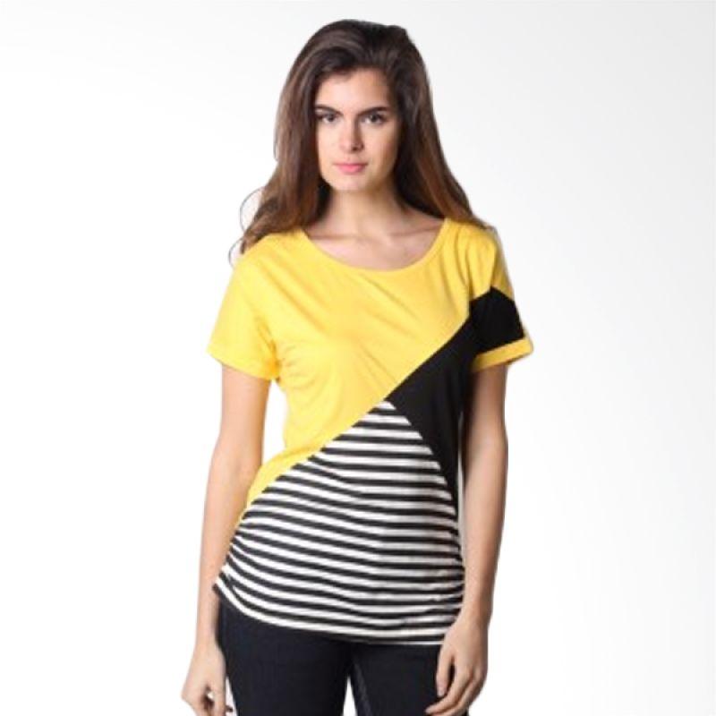 The B Club Stripe Yellow Atasan Wanita