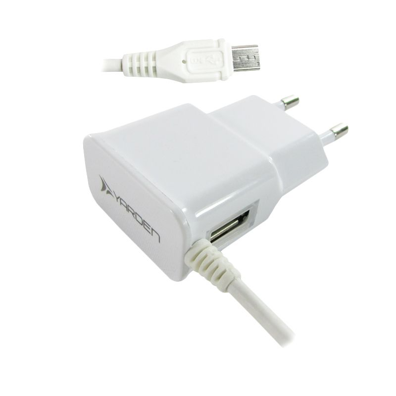 Yarden Putih Travel Charger for Smartphone [2A/2 port/MicroUSB]