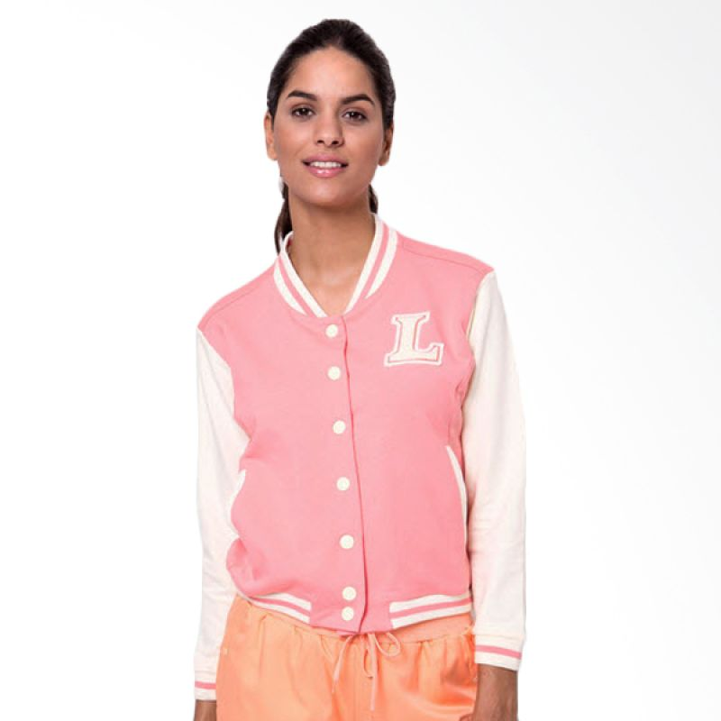 League Croped Varsity 2 Pink Jaket Wanita