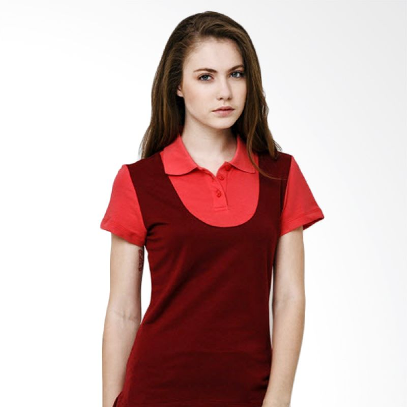 League Preppy Polo Red Pink Kaos Wanita