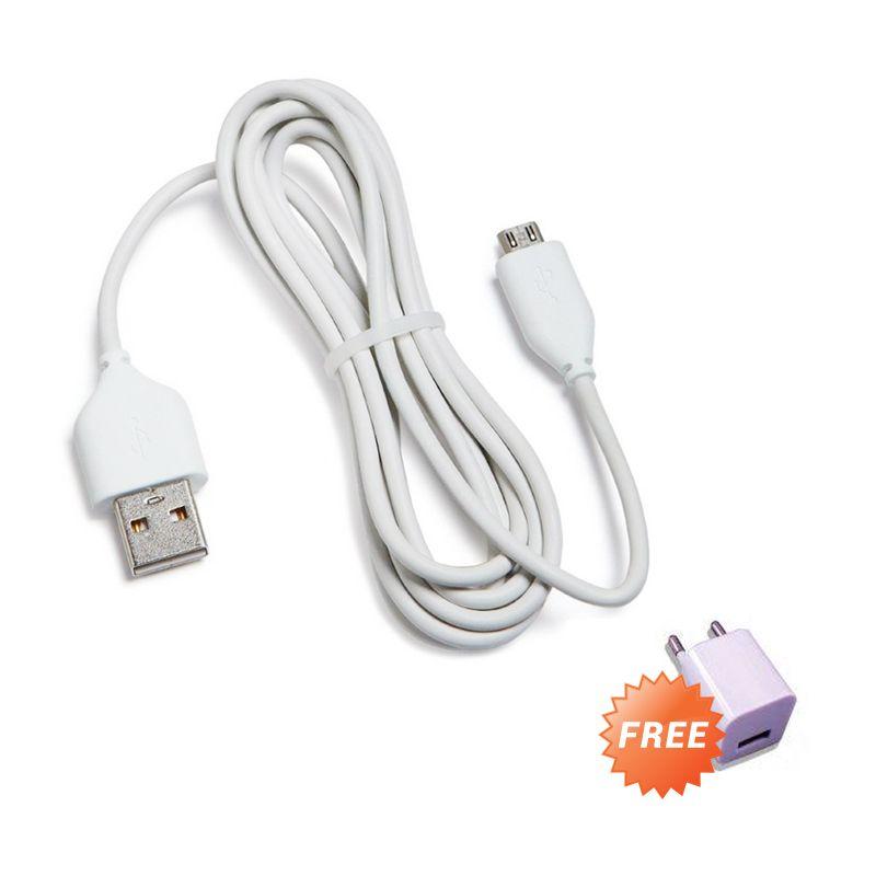 Bazel Putih Kabel Data untuk BB atau Samsung [2 M] + Adaptor USB