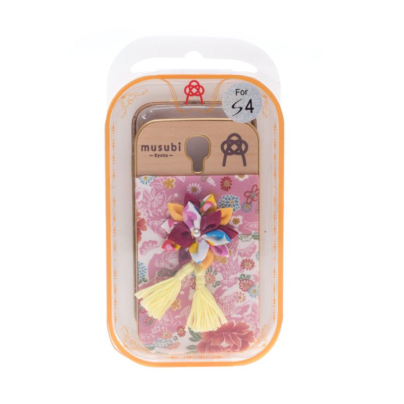 Musubi Kyoto Pink Cloth Flower Tassels Yellow Casing For Galaxy s4