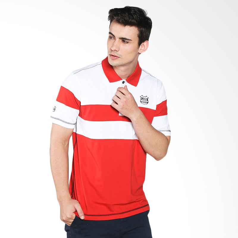 LGS Men Slim Fit Color Striped JTS.324.M1903F.01.C Polo Shirt Pria - Red White Extra diskon 7% setiap hari Extra diskon 5% setiap hari