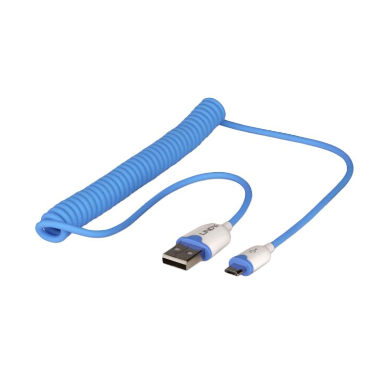LINDY #30929 Coiled Type A to Micro-B Blue USB Data Cable [1.6 m]