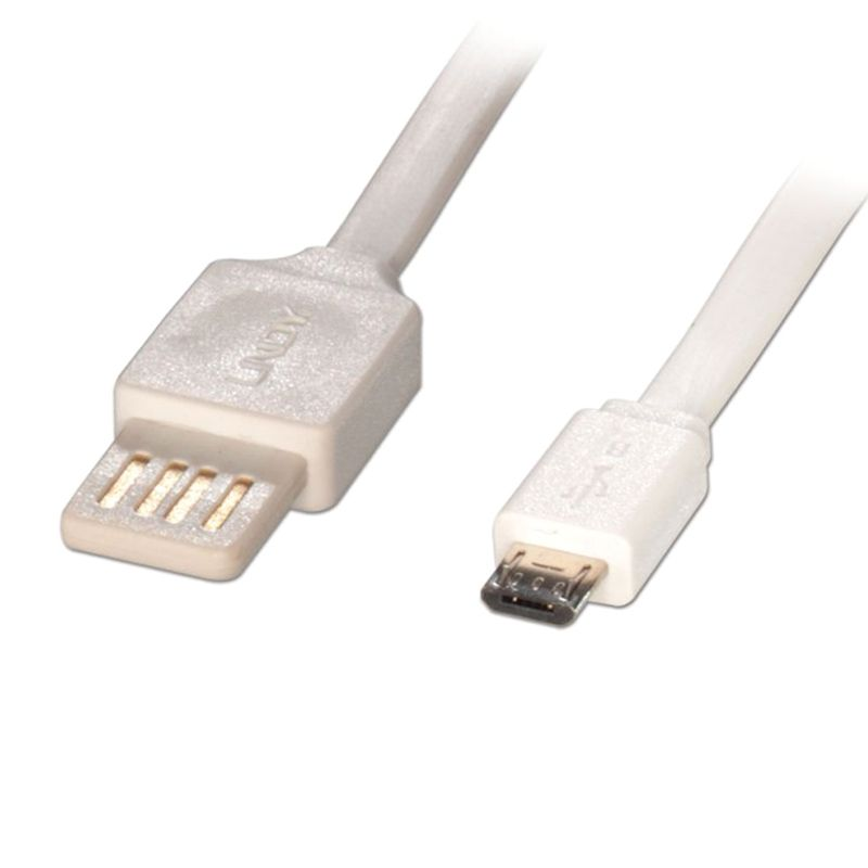 LINDY #30911 Flat USB 2.0 Easy Fit Type A M/ Micro-B M White USB Cable Data [1 m]