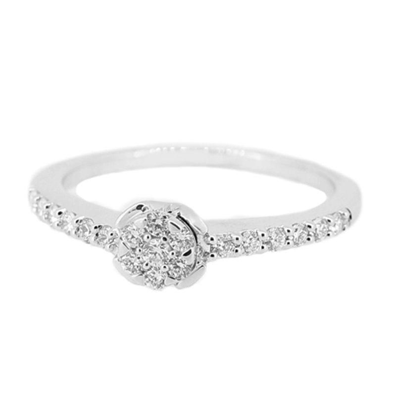 LINO CC1505077B Berlian Emas Putih Cincin [18 K]