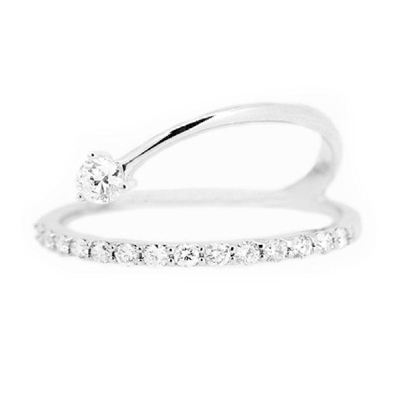 LINO Berlian Emas Putih CC1504163B Cincin [18 K]