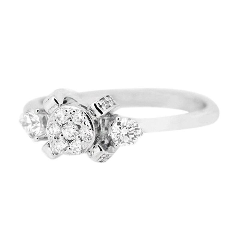 LINO CC1505040B Berlian Emas Putih Cincin [18 K]