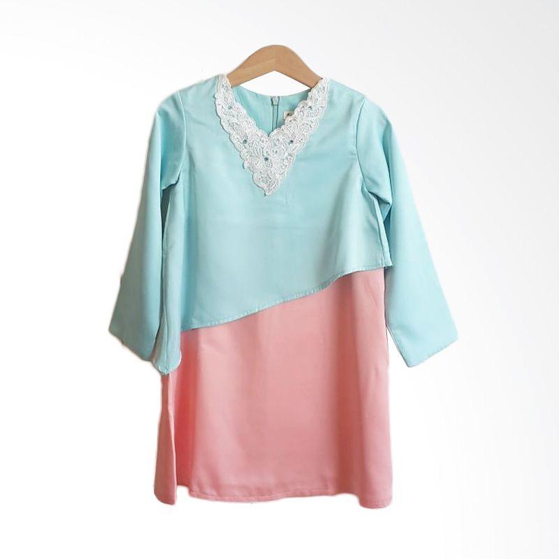 Little Noni Batik Zelda Blue Orange Dress Anak