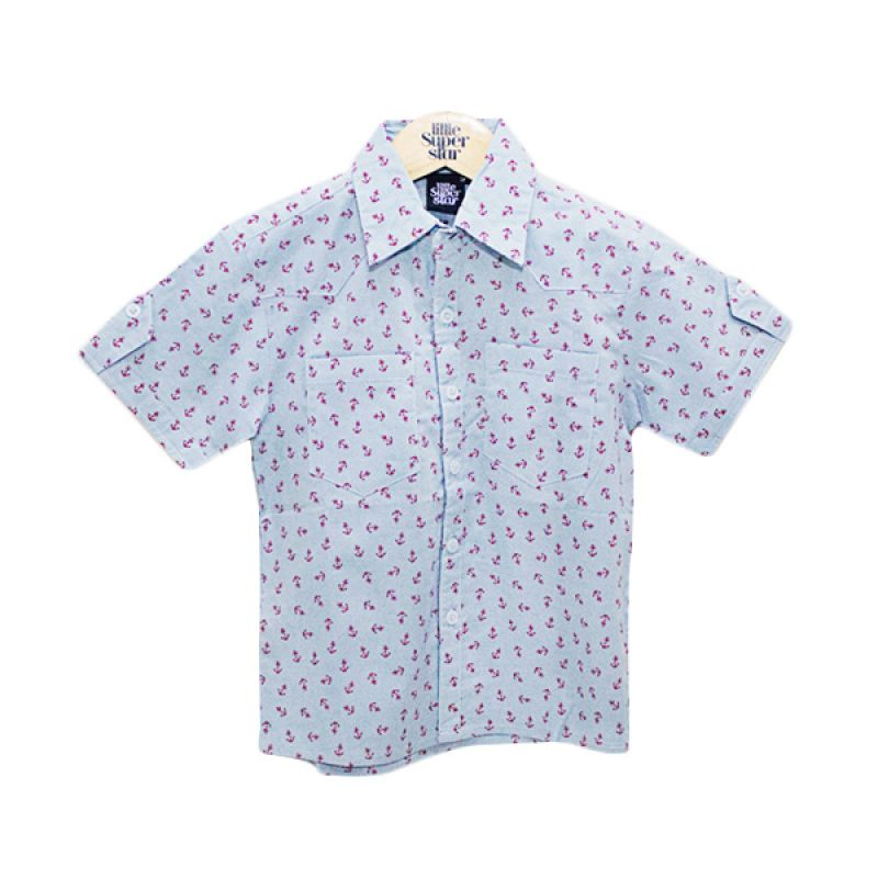 Little Superstar Mark Shirt Angker Blue Atasan Anak Laki-Laki