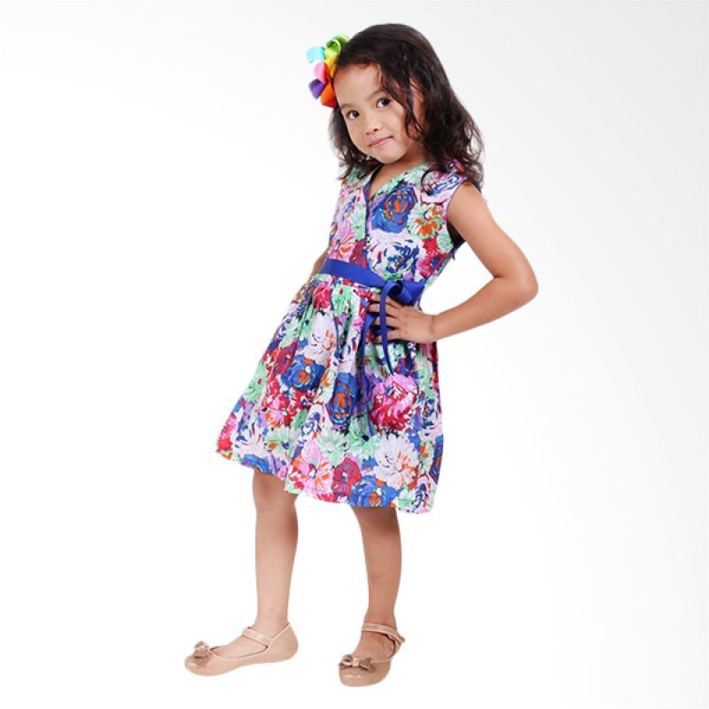Little Superstar Summer Side Blue Dress Blue