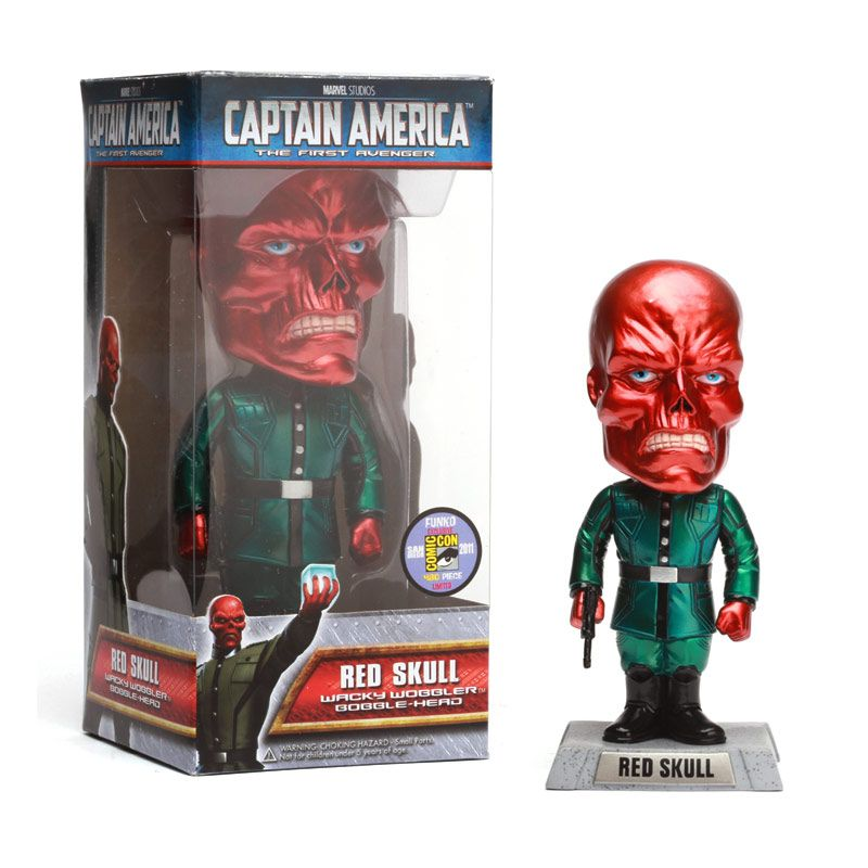 Funko Red Skull Metallic Bobble Head Wacky Wobbler 2214SDCC Mainan Anak