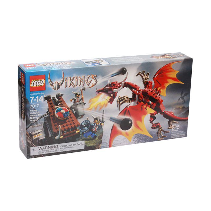 LEGO Viking Catapault versus the Nidhogg Dragon 7017 Mainan Anak