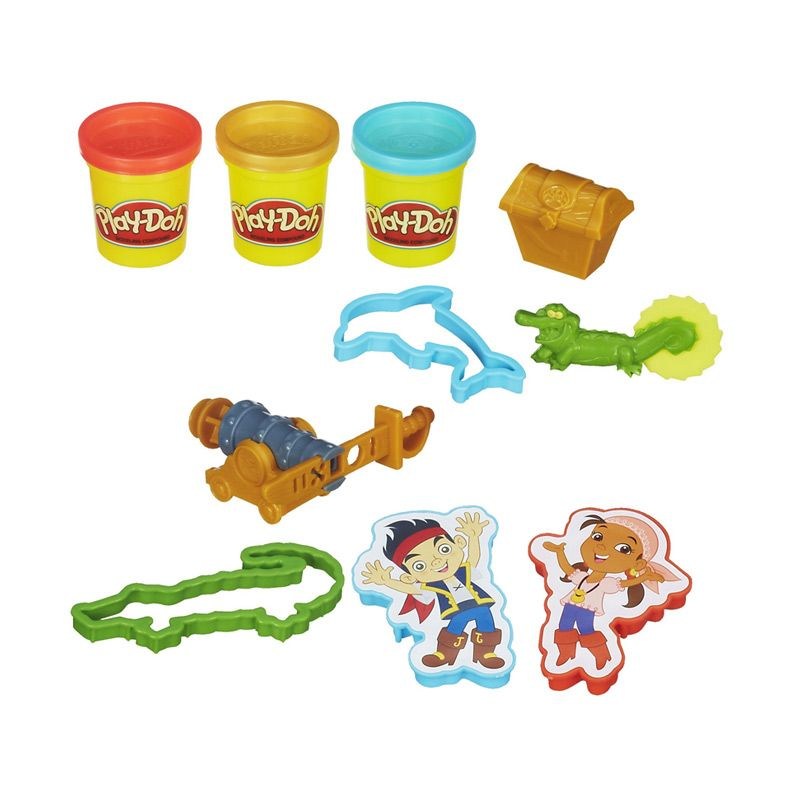 PlayDoh Disney Treasure Creations Featuring Jake And The Never Land Pirates A6075 Mainan Anak