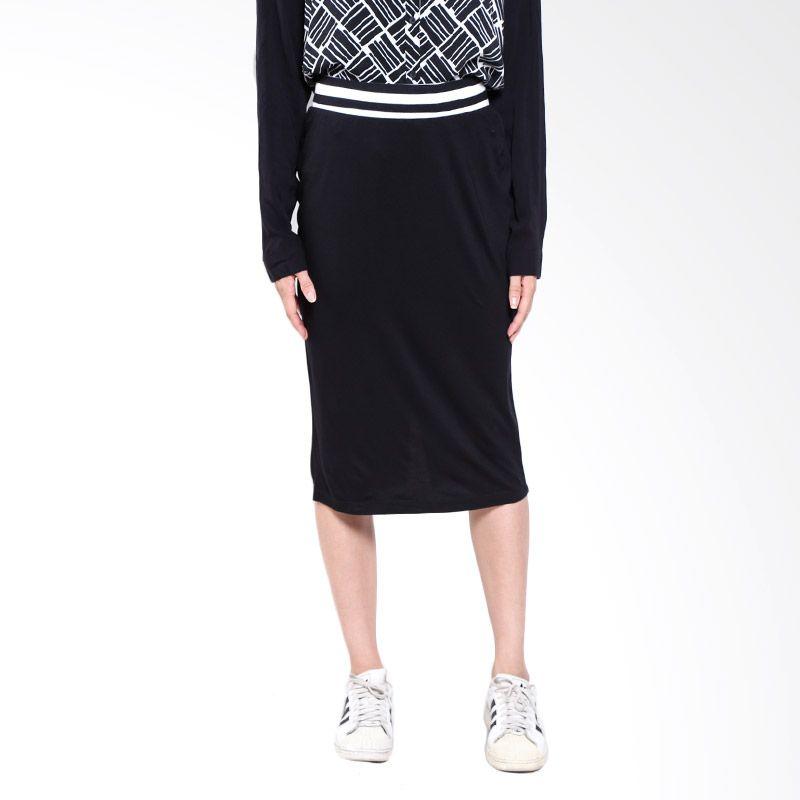 Logo 52019L7Bk Black Midi Skirt