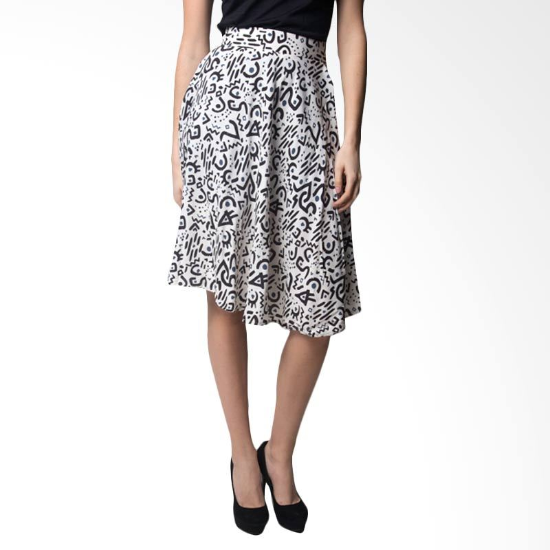 Loony Print Black and White Flare Skirt