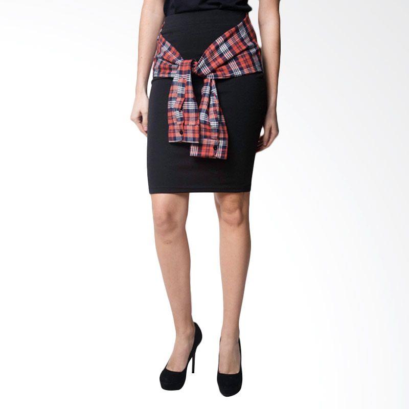 Loony Pattern Rope Sleeve Black Skirt