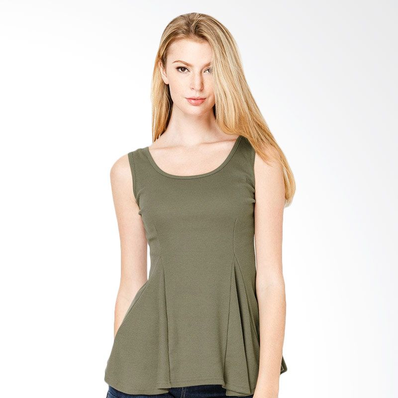 Lovadova Indonesia Army Green Peplum Sleeveless Army Green Atasan Wanita