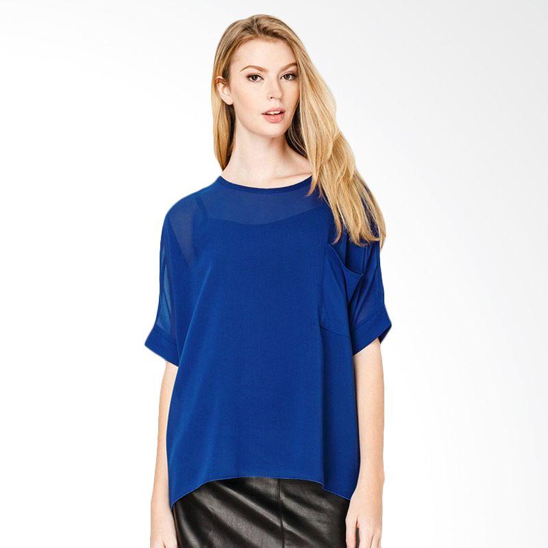 Lovadova Indonesia Baggy Pocket Top Cobalt Blue Atasan Wanita