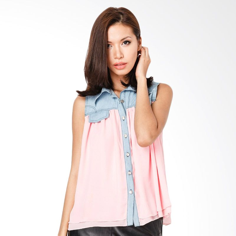Lovadova Indonesia Denim Top Sleeveless Pink Atasan Wanita