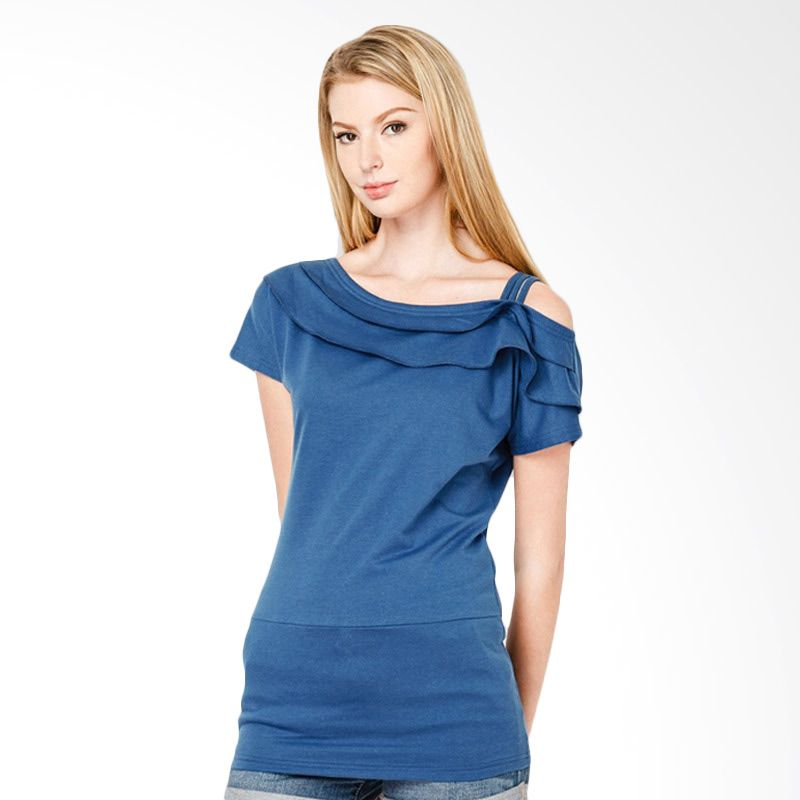 Lovadova Indonesia Ruffled Asymmetrical Top Blue Atasan Wanita