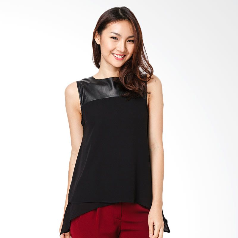 Lovadova Indonesia Unfinished Cut Black Faux Blouse