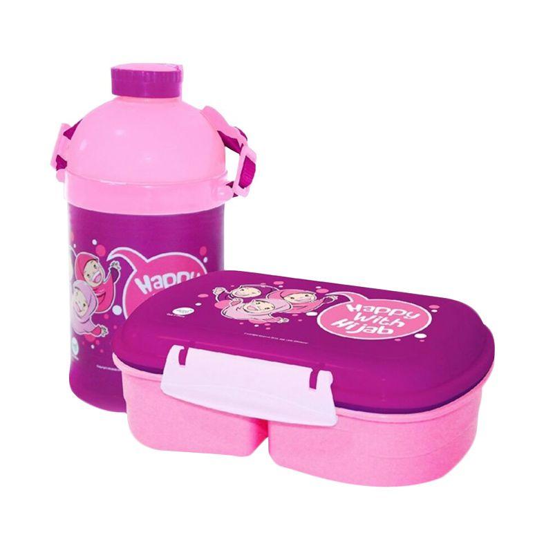 Afrakids Happy with Hijab Pink Set Kotak Makan