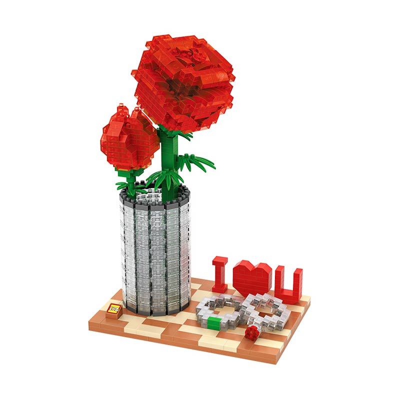 LOZ Creator 9022 Crystal Rose Mainan Blok and Puzzle