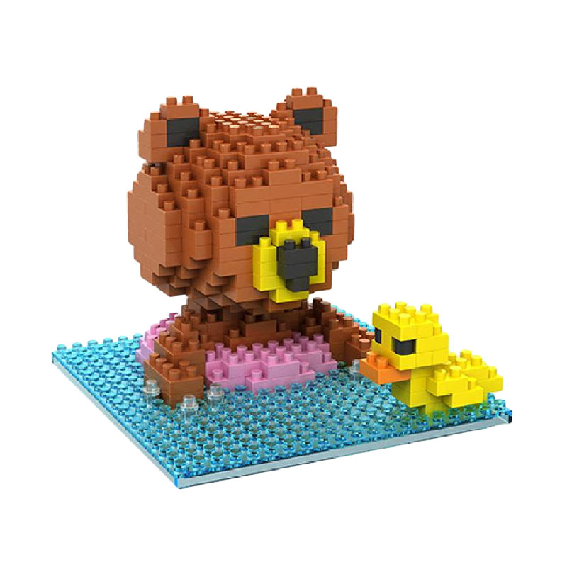 Loz 9428 Brown Bear Swimming Mainan Blok & Puzzle