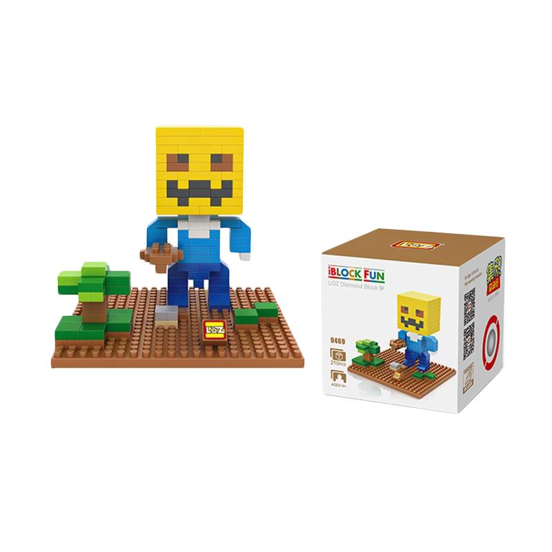 Loz 9469 Minecraft Steve Pumpkin Mainan Blok dan Puzzle