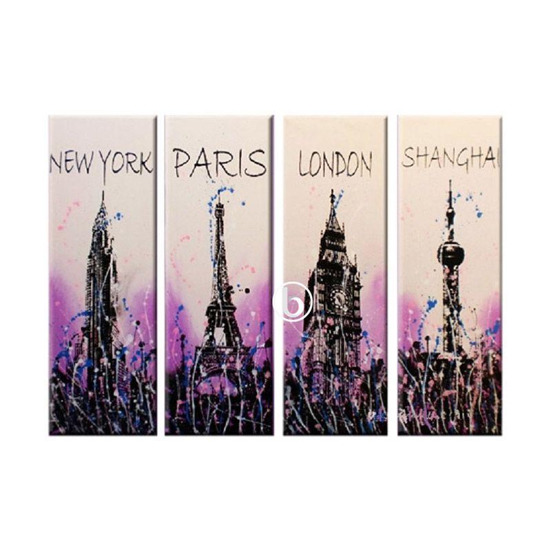 Lukisanku City Purple Lukisan Minimalis