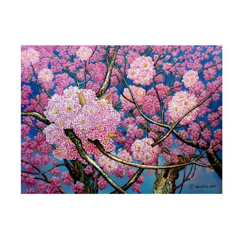 Lukisanku MHT-Pink Flower Lukisan modern