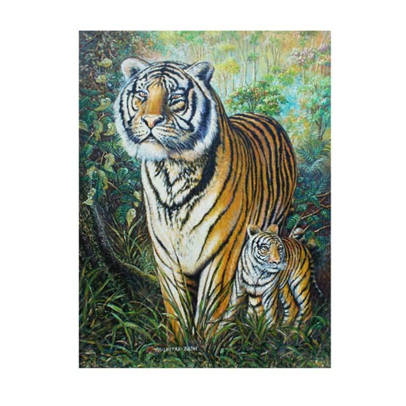 Lukisanku MHT-Tiger Mother Lukisan Modern