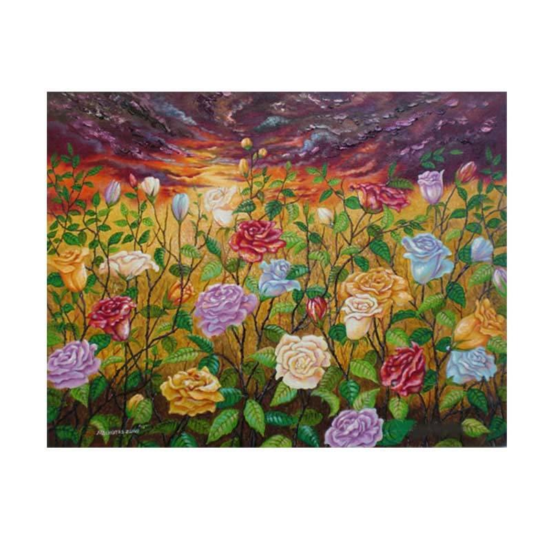 Lukisanku MHT-Twilight Roses Lukisan Modern