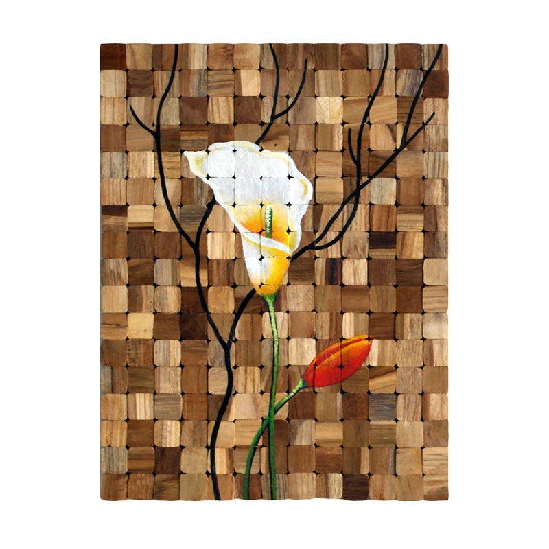Lukisanku Solid Wood Mozaic Painting Flower Lukisan