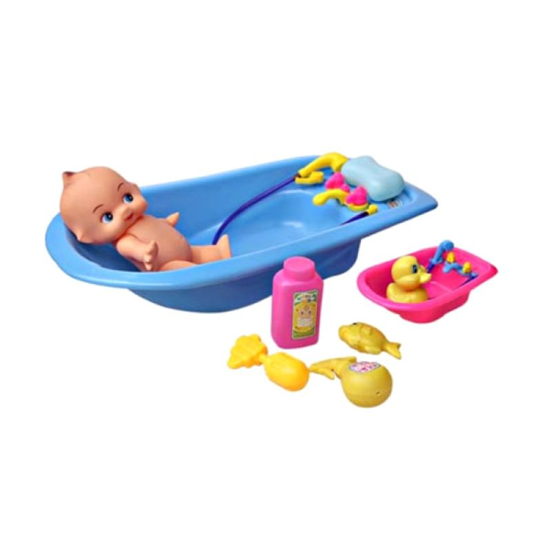 Lumi Toys Bath Tub Baby Doll Biru Mainan Anak