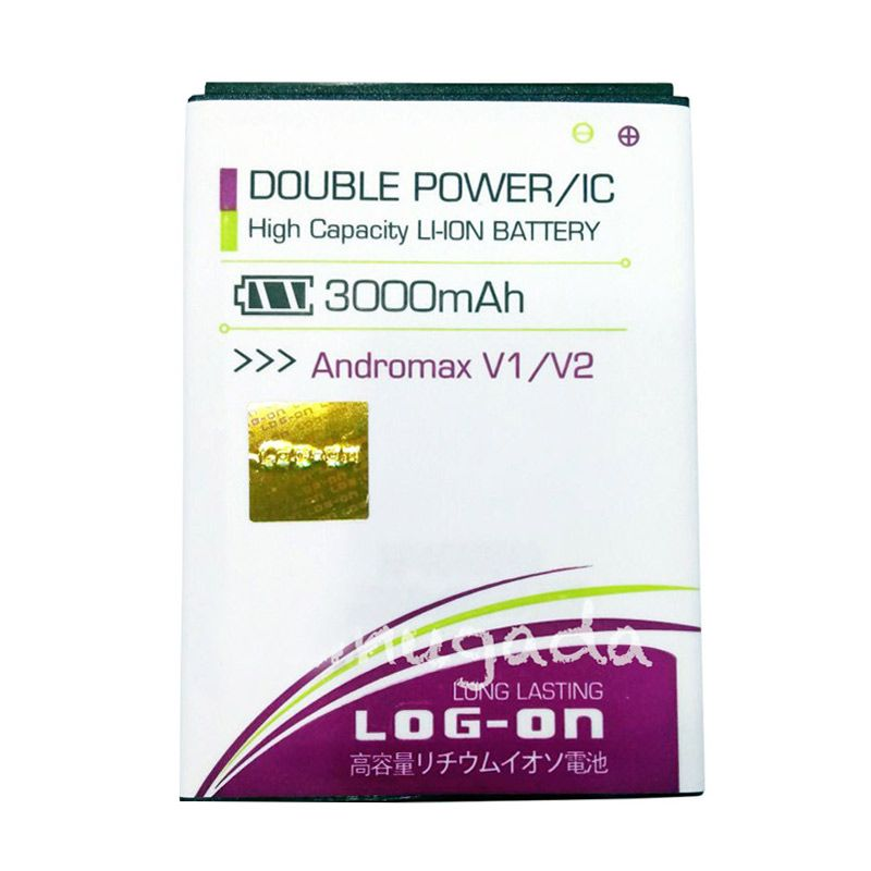 Log On Double Power Baterai for Smartfren Andromax V or V2 [3000 mAh]