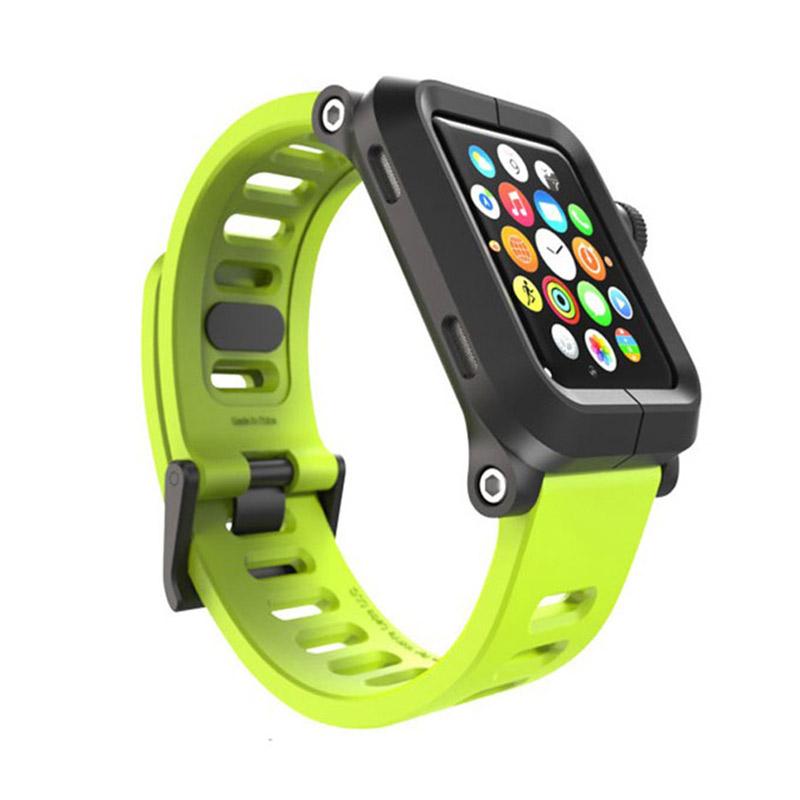 Lunatik Epik Metal Silicone Band for Apple Watch 42mm - Black Lime Green