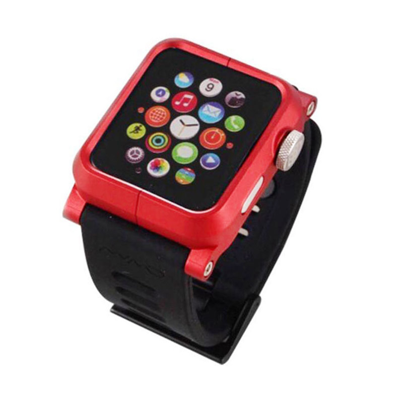 Lunatik Epik Metal Silicone Band for Apple Watch 42mm - Red Black