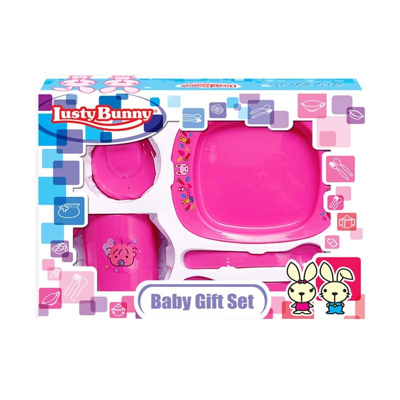 LustyBunny Feeding Set LB 1411B Pink Alat Makan Bayi