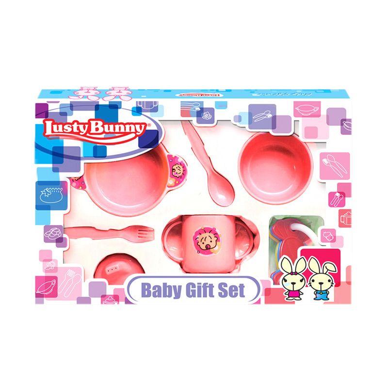 LustyBunny Feeding Set LB 1827B Pink Alat Makan Bayi