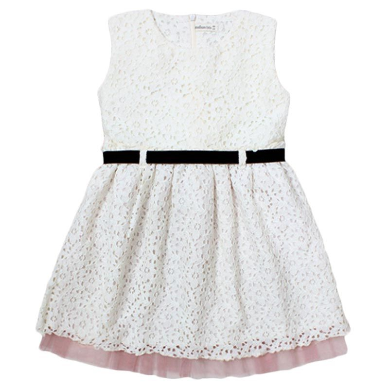 Madison Tots Fleur White Dress Anak