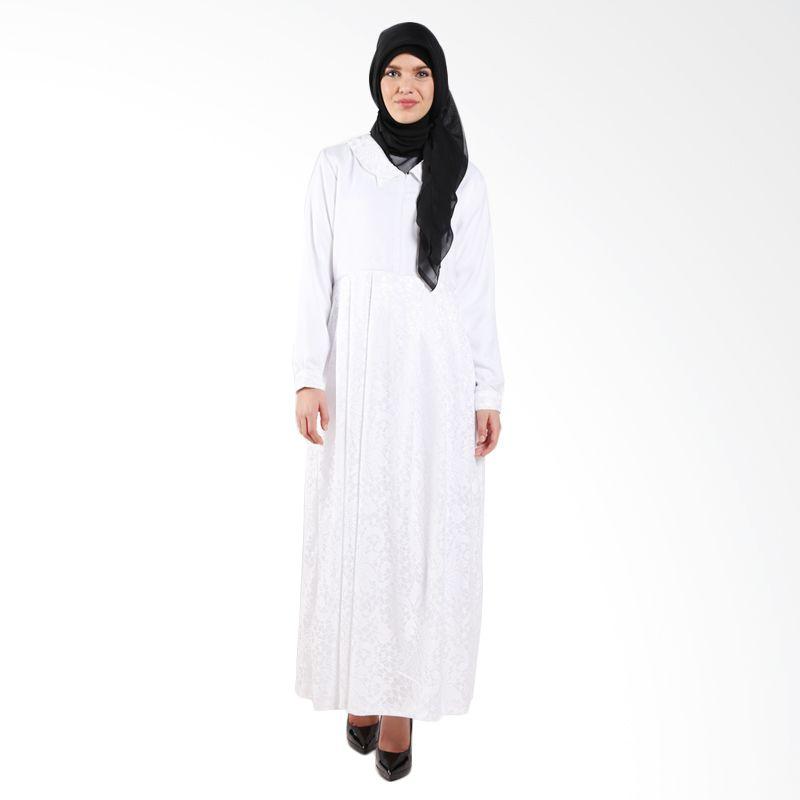 MAE INDONESIA Jaguard Pattern PJ 001 White Dress Muslim