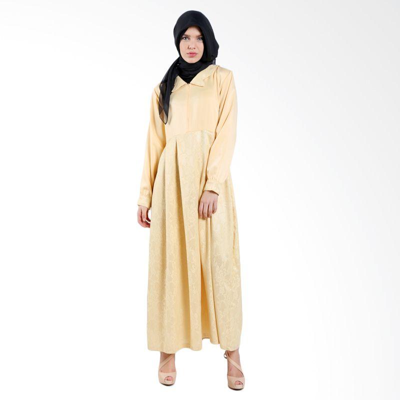 MAE INDONESIA Jaguard Pattern PJ 002 Yellow Dress Muslim