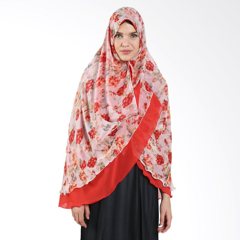 MAE INDONESIA Syafeea Non Pet Flower Khimar SYNP 3 Orange Red Hijab