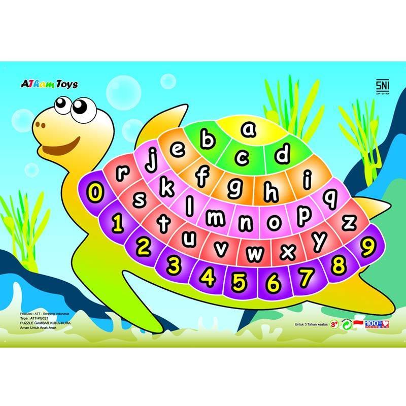 Kidzntoys Puzzle Stiker Alphabet Angka Kura Kura Mainan Edukasi Anak