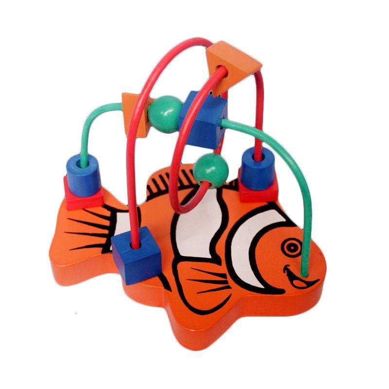 Mainan Kayu Alur kawat 2 karakter Ikan Orange Mainan Anak