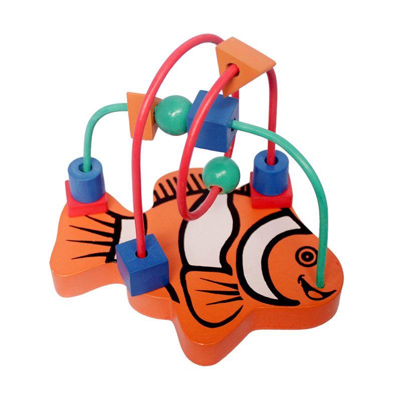 Mainan Kayu Alur kawat 2 Karakter Kecil Ikan Mainan Anak