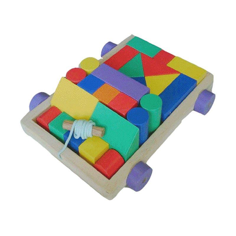 Mainan Kayu City Block Car Mainan Anak